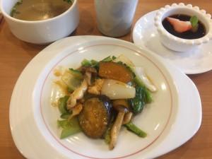 季節野菜と若鶏胸肉の四川風魚香炒め