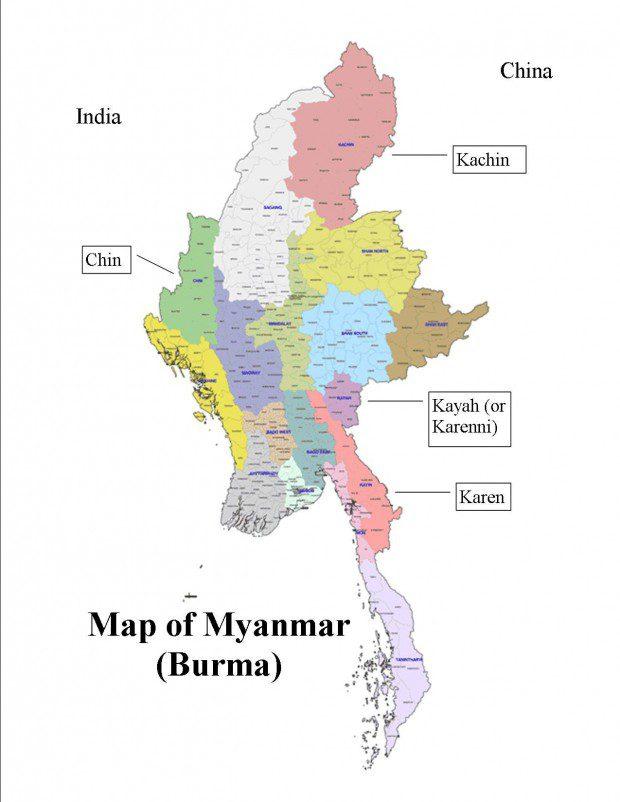 ミャンマー地方の地図